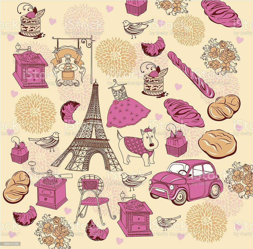 Vector background with symbols of Paris royalty-free stock vector art