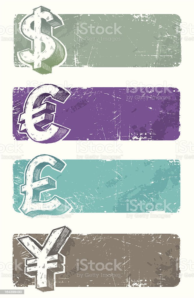 Vector banners with hand drawn currency signs royalty-free stock vector art
