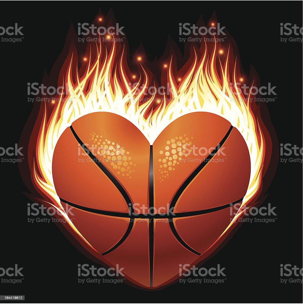 Ilustraci n de vector de b squetbol en fuego en la forma for Fotos del corazon