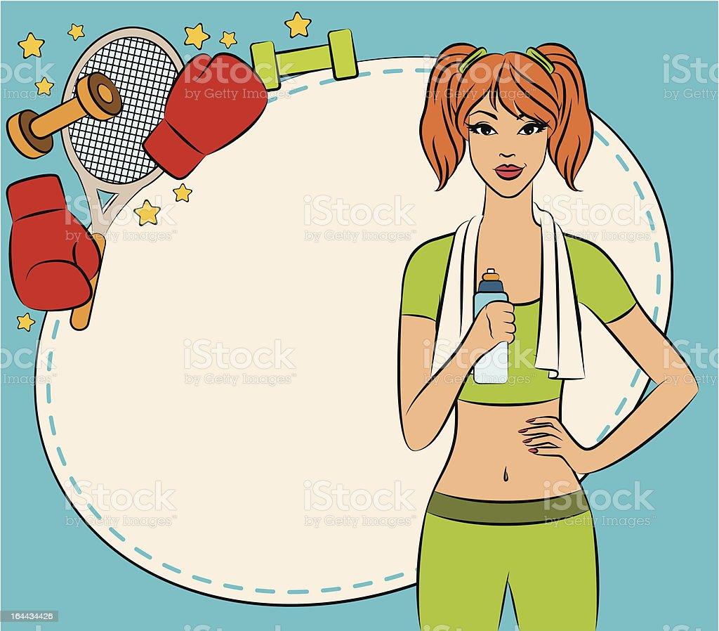 Vector beautiful fitness woman royalty-free stock vector art