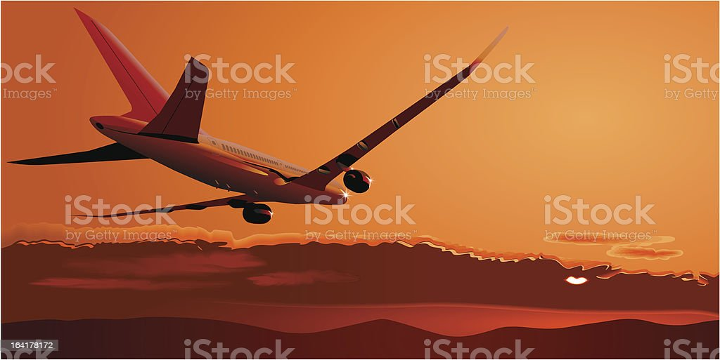 Vector Boeing-787 at sunset royalty-free stock vector art