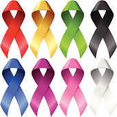 Vector breast ribbons set isolated on white background