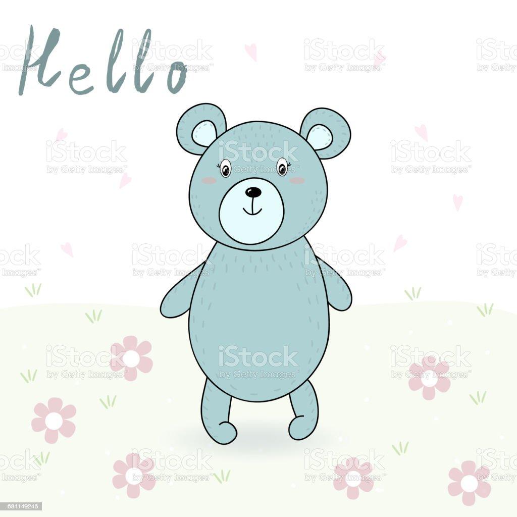 vector card with cute bear. vector print vector card with cute bear vector print - immagini vettoriali stock e altre immagini di abbigliamento royalty-free