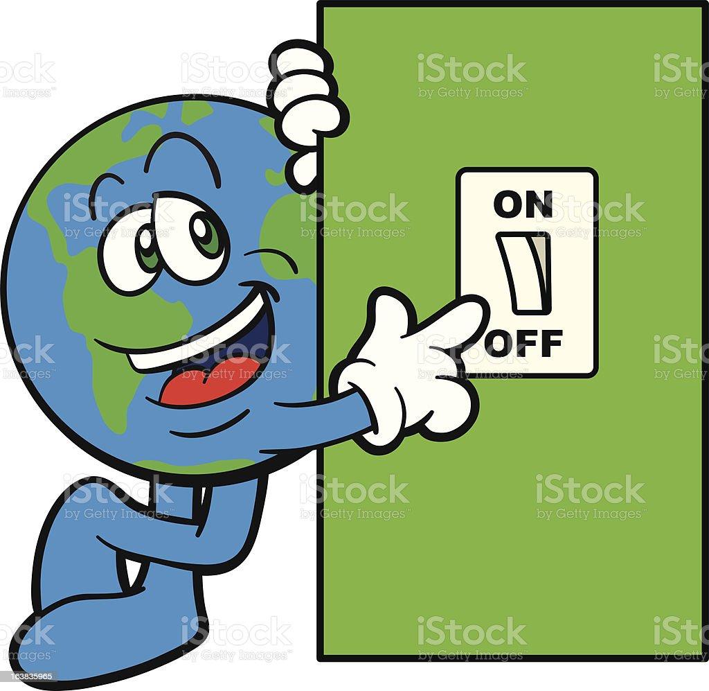Vector Cartoon Earth Mascot Switching Off Stock Vector Art  for light switch off clip art  585eri