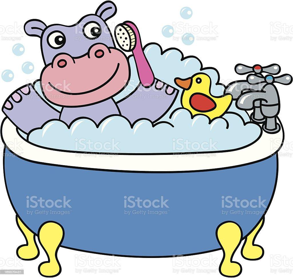 Vektorcomic Hippo Ein Badezimmer Stock Vektor Art Und Mehr Bilder