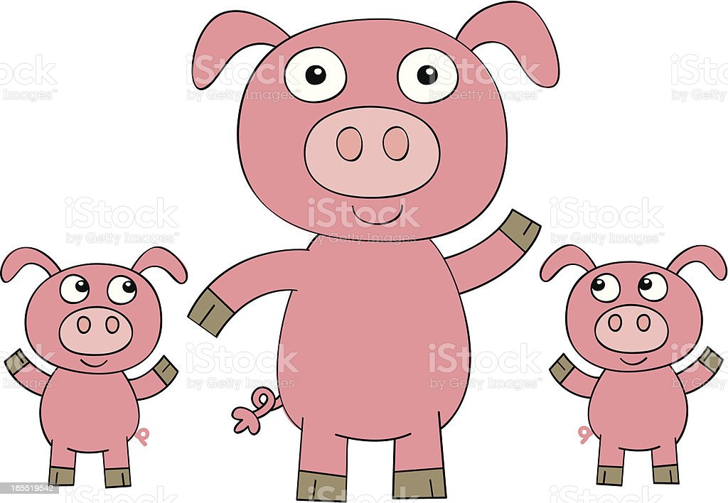 Vector Cartoon Pig And Piglets Royalty Free Stock Art