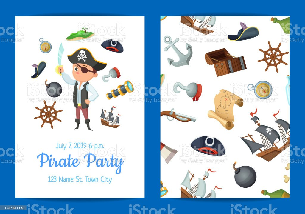 vector cartoon sea pirates birthday party invitation template