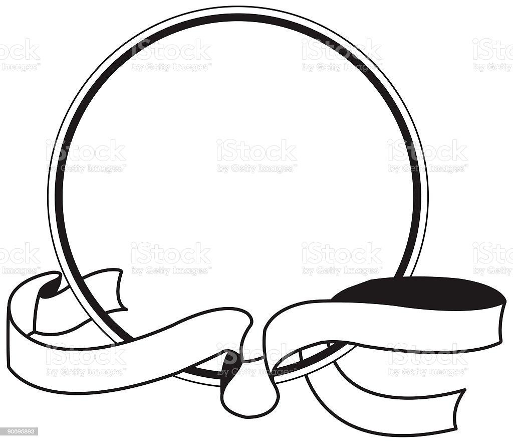 Vector circle with ribbon logo concept  Black Color stock illustration