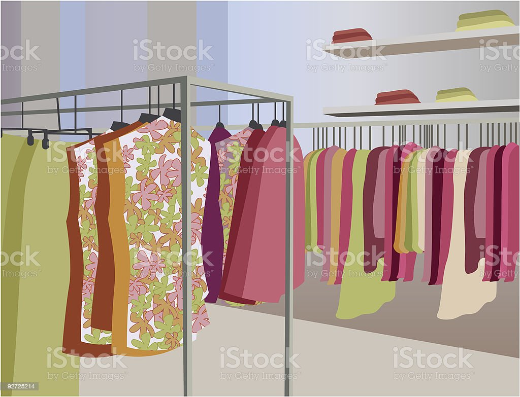 vector clothes in shop vector art illustration