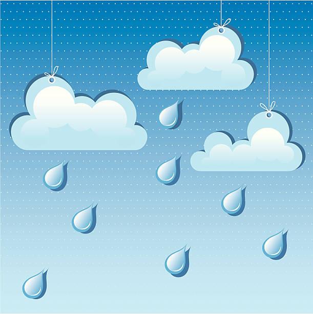 ilustrações de stock, clip art, desenhos animados e ícones de vector nuvem e pingos de chuva - ambient temperature