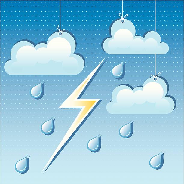 ilustrações de stock, clip art, desenhos animados e ícones de vector nuvem, pingos de chuva e relâmpagos - ambient temperature