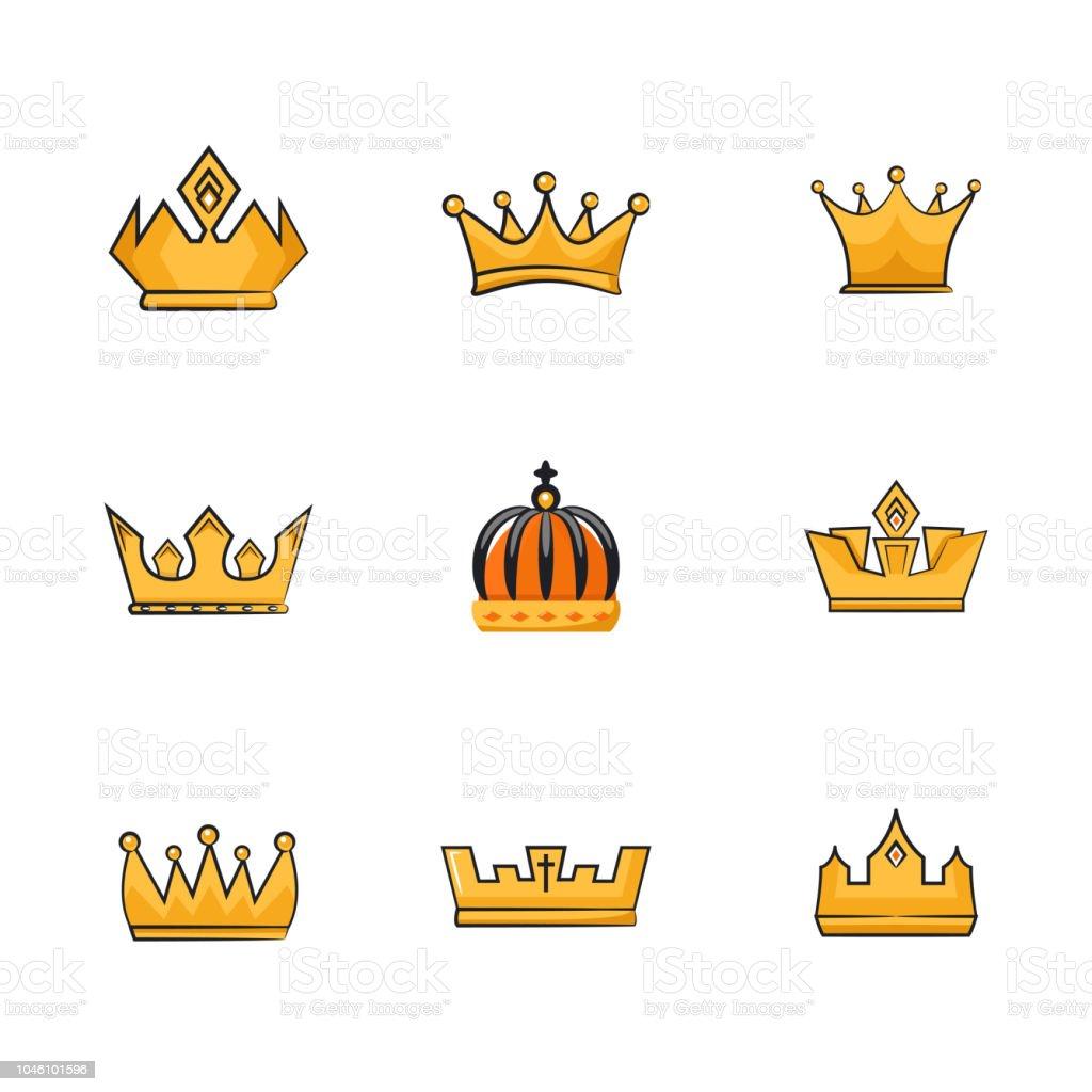 Ilustración De Colección De Vectores De Coronas De Rey Y La Reina De