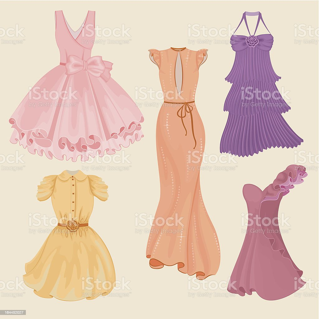 Vector collection of fashionable elegant dresses for girl royalty-free stock vector art