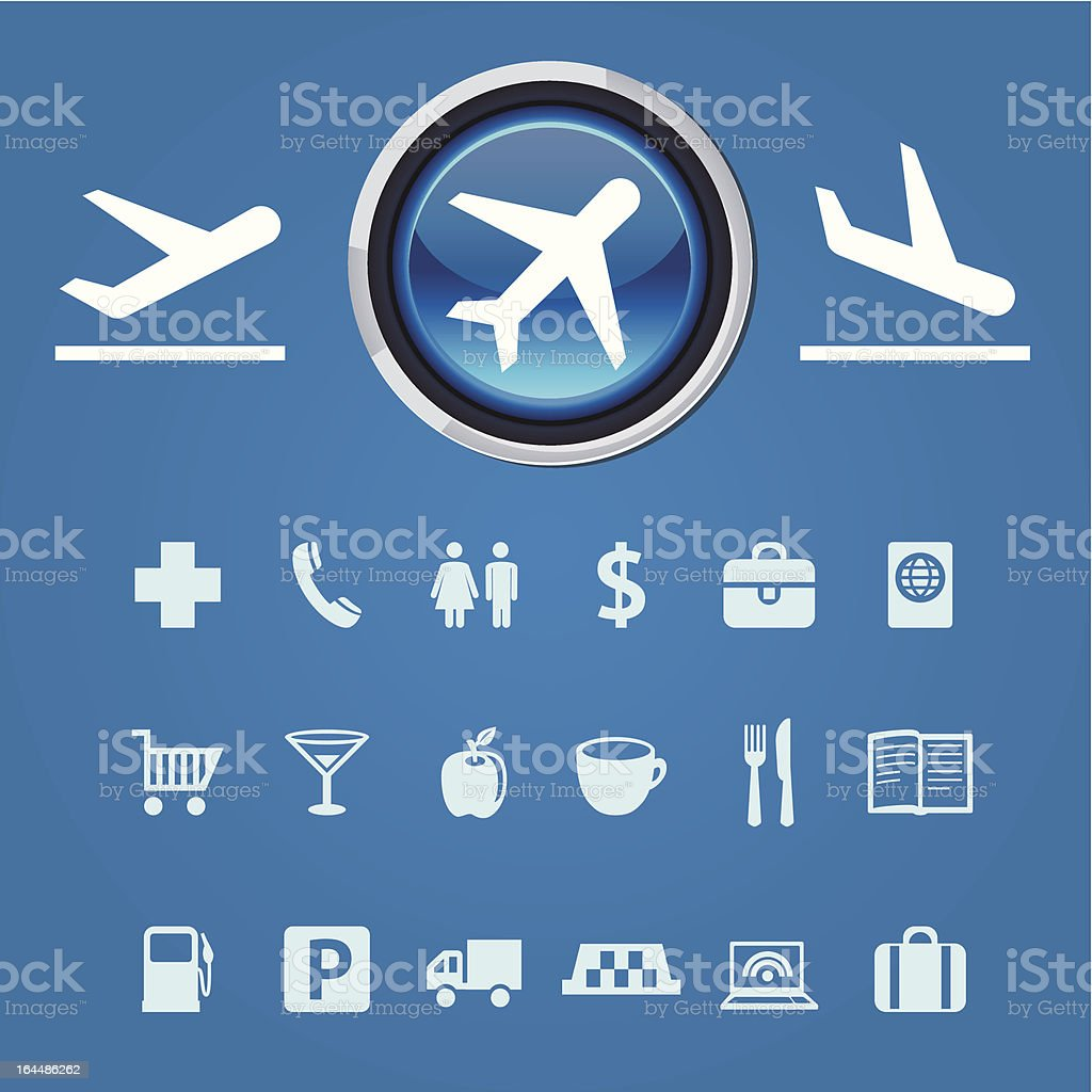 Vector collection of icons and pointers for navigation in airport royalty-free stock vector art