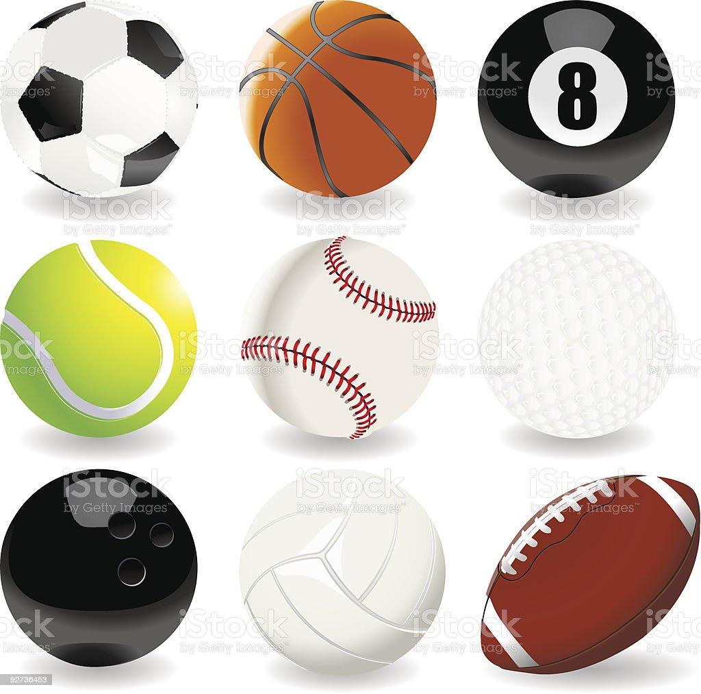 Vektor-Sammlung von sport Bälle – Vektorgrafik
