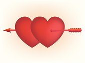 """""""Vector Cupid arrow through two hearts. Also includes EPS, AI and hi-res JPG formats."""""""