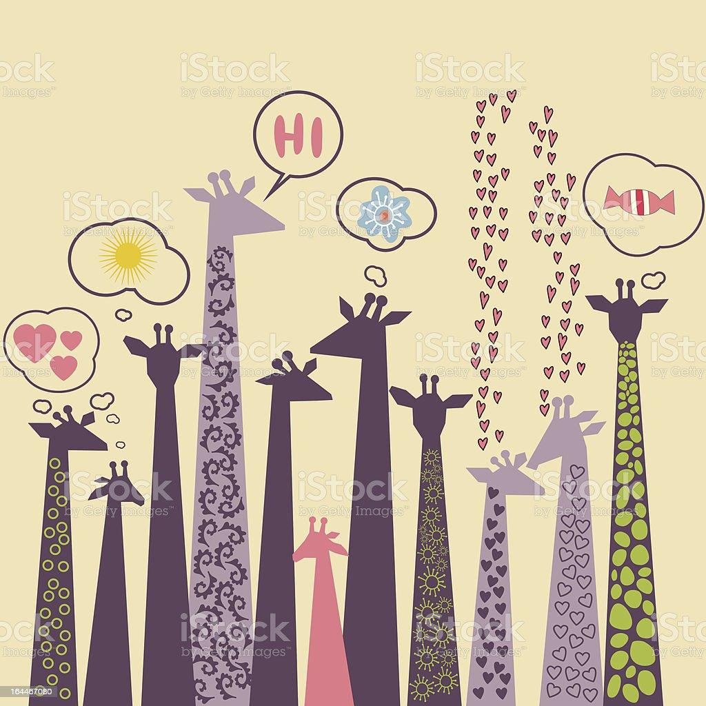 Vector cute drawn style giraffes illustration