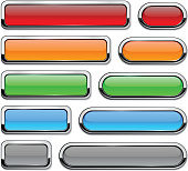 Collection of vector buttons with metallic borders.