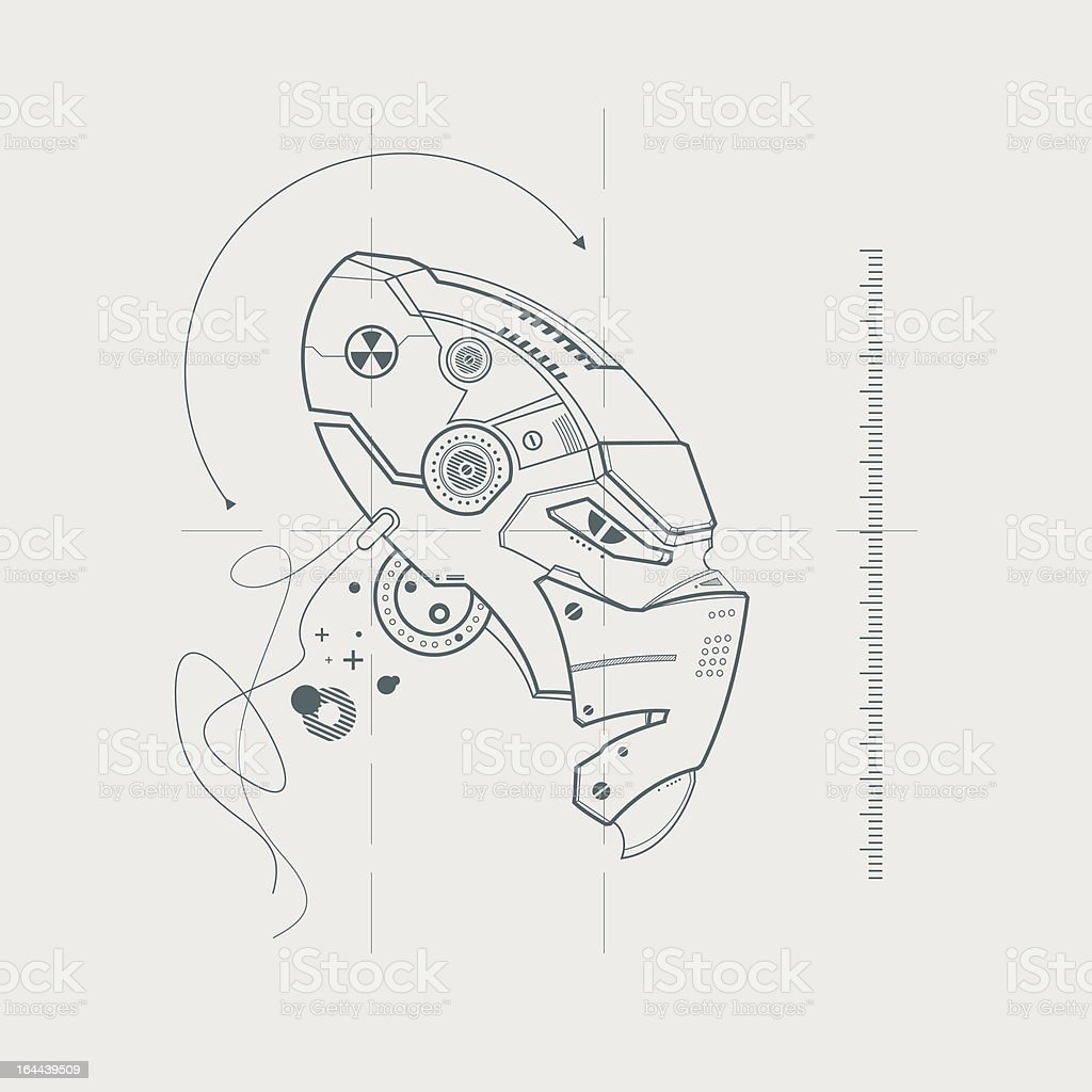 Vector drawing of the robot head stock vector art more images of vector drawing of the robot head royalty free vector drawing of the robot head malvernweather Images