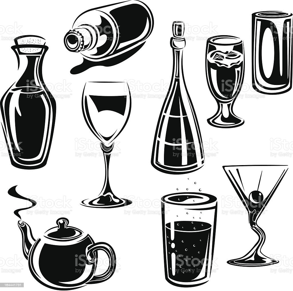 Vector Drinks Set vector art illustration