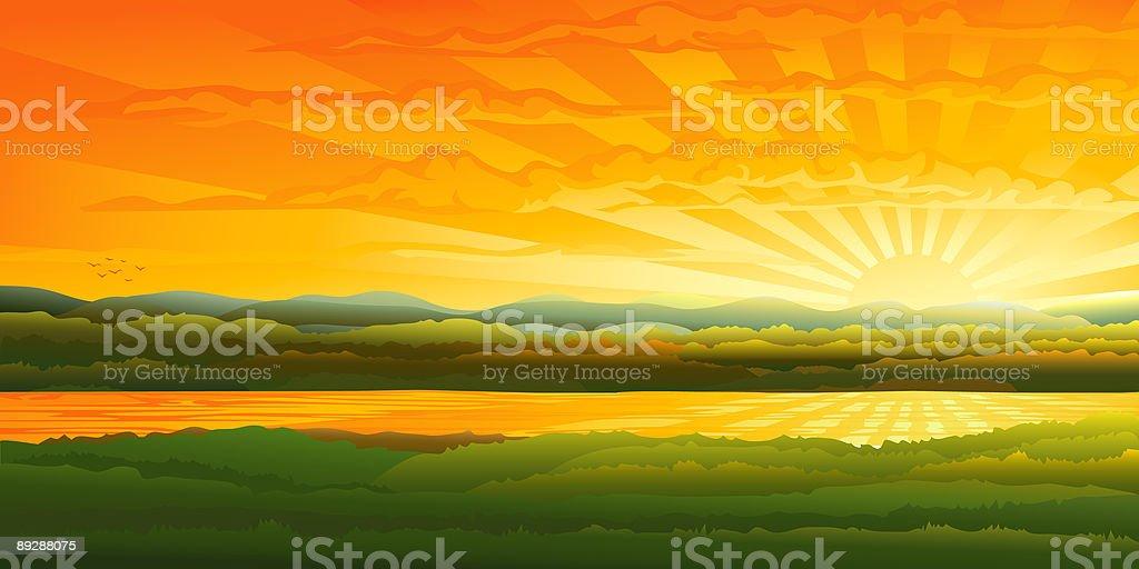 Vector evening landscape - beautiful sunset over a river vector art illustration