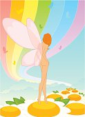 Vector fairy goes for a walk on flowers