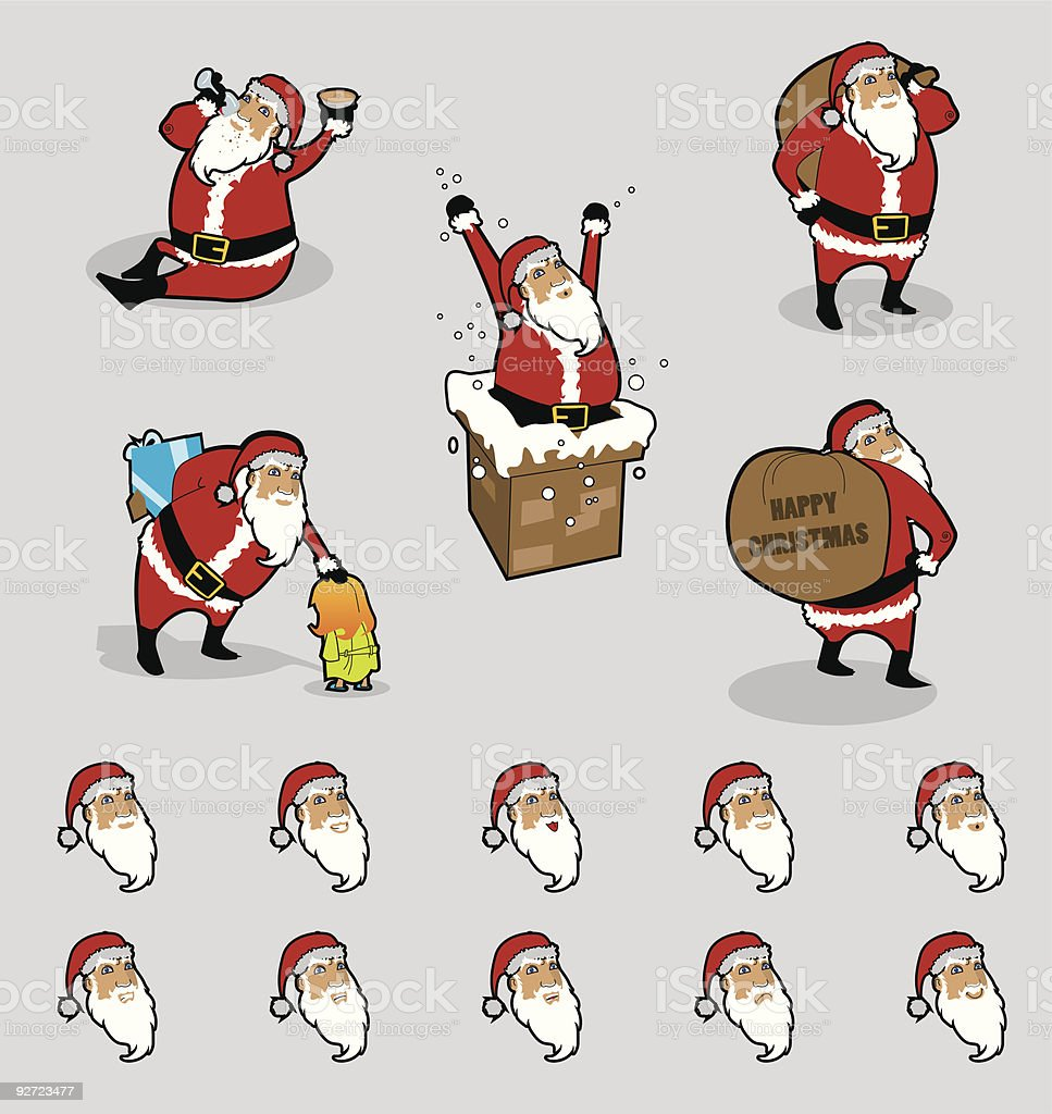 vector Father Christmas with many facial expressions royalty-free stock vector art