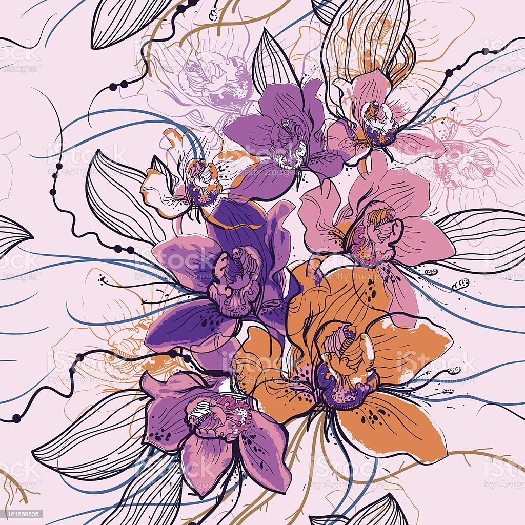 vector floral seamless pattern with blooming flowers royalty-free vector floral seamless pattern with blooming flowers stock vector art & more images of art