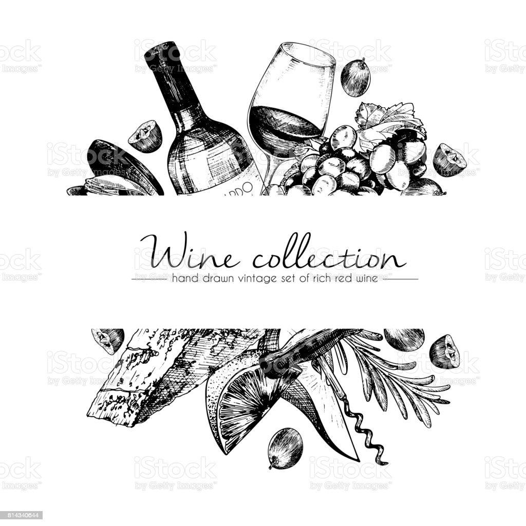 ロゴベクトルの手には、ワインと前菜のテンプレート図が描画されます。ボトル、グラス、corcksrew、チーズ、果物 ans cpices。刻まれたヴィンテージスタイルのアート。レストラン、メニューのショップ、市場、販売のため ベクターアートイラスト