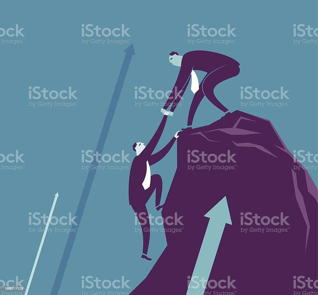 Vector helping hand concept with businessmen vector art illustration