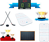 """Vector hockey elements,isolated on white."""