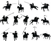 Knights and medieval warriors on horseback detailed silhouettes set. Vector