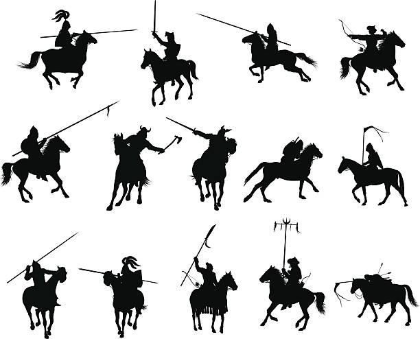 vektor reiter-set - reiter stock-grafiken, -clipart, -cartoons und -symbole