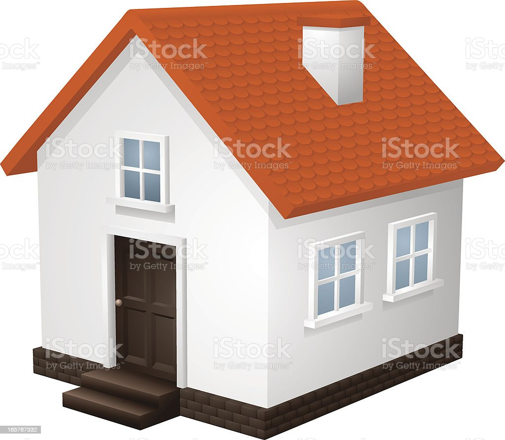 Vector house home icon with red roof royalty-free vector house home icon with red roof stock vector art & more images of clip art