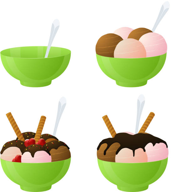 Vector ice cream Vector ice cream and empty bowl. bowl of ice cream stock illustrations