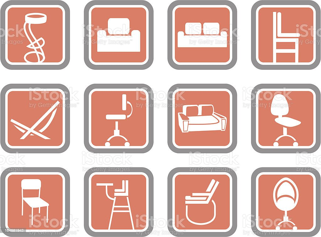 Vector Icons: Furniture royalty-free stock vector art