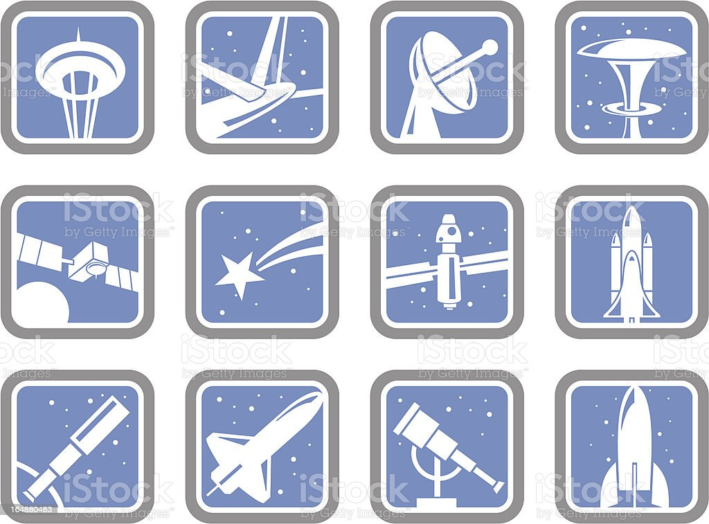 Vector Icons: Space Objects royalty-free stock vector art
