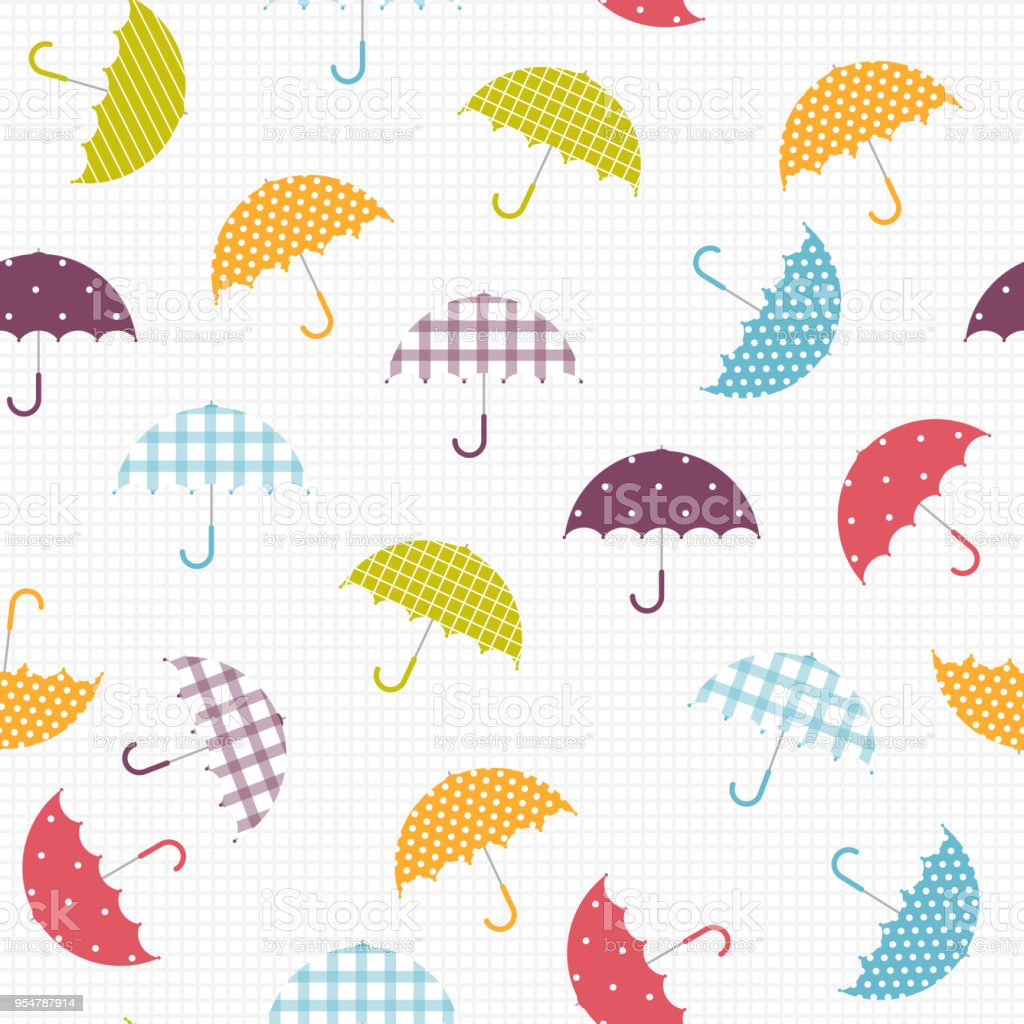 Vector Illustration Colorful Umbrella Pattern Witn