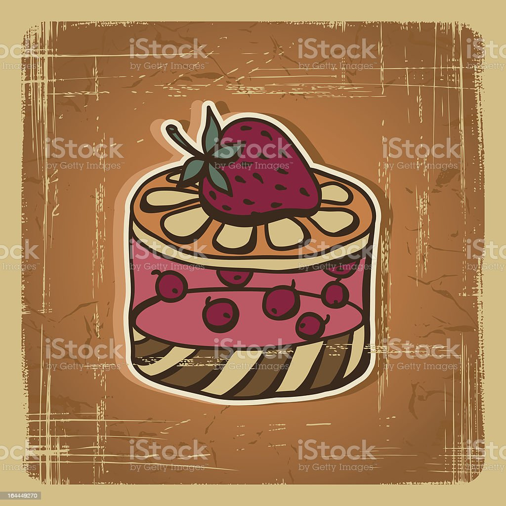 Vector illustration of cake in retro style. Vintage card. royalty-free vector illustration of cake in retro style vintage card stock vector art & more images of anniversary