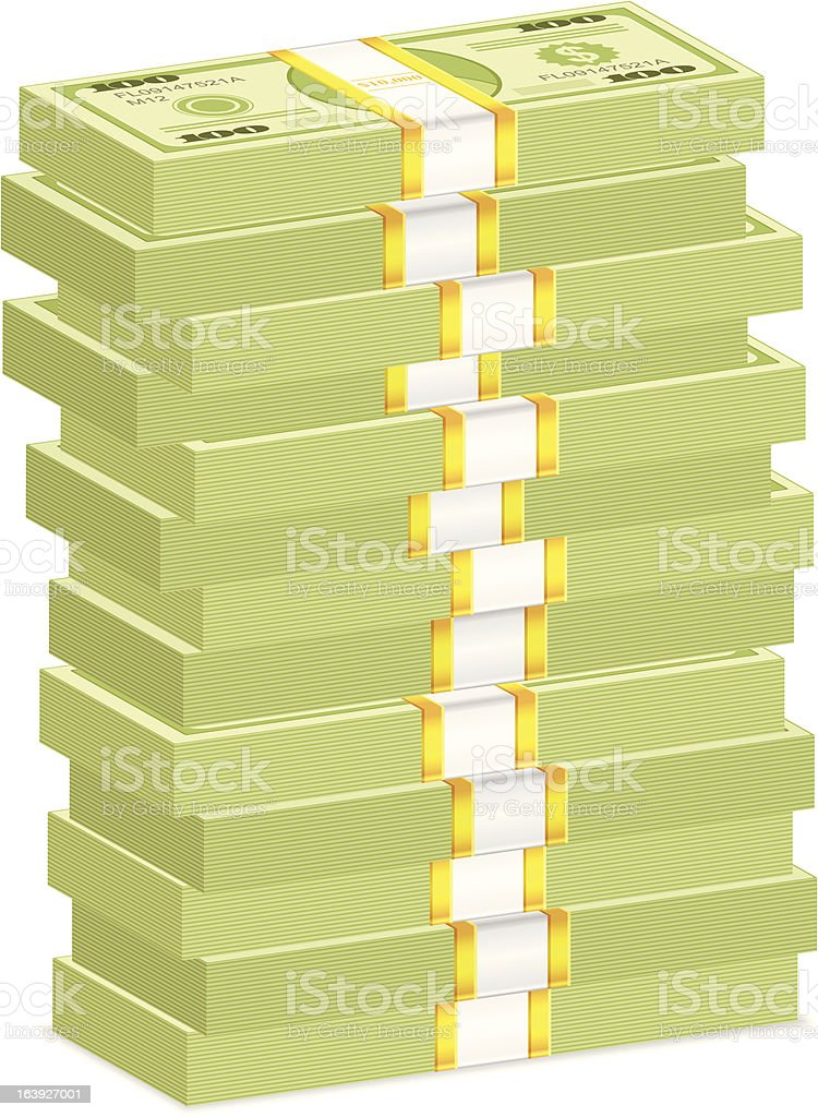 Vector illustration of cash money stack vector art illustration