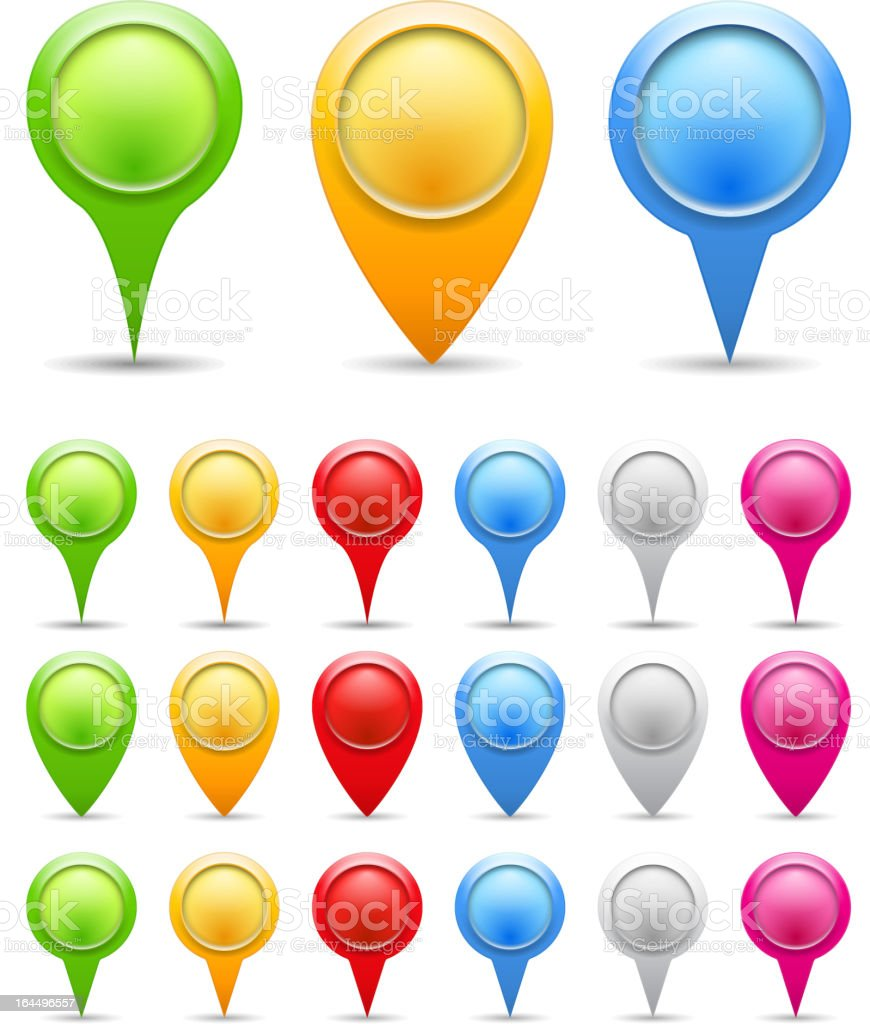 Vector illustration of colorful map marker icons vector art illustration