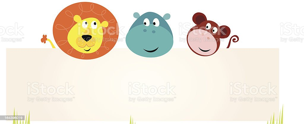 Vector Illustration of cute jungle animals with blank sign royalty-free stock vector art