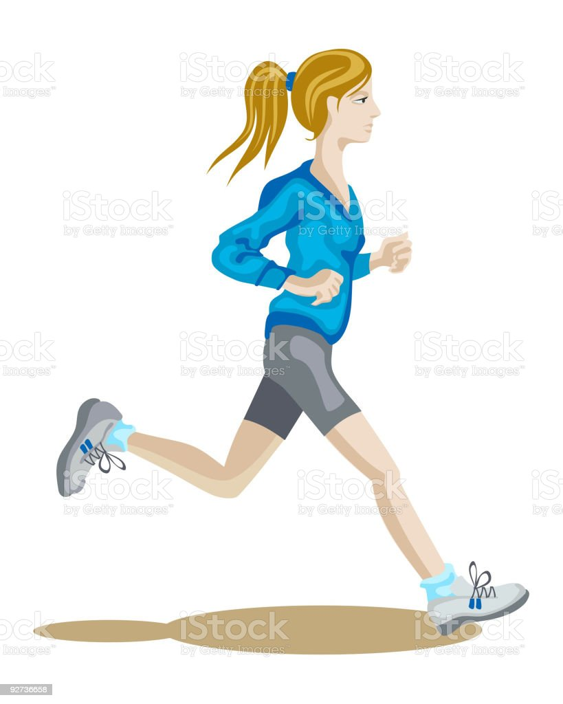 vector illustration of jogging girl - Royalty-free Adult stock vector