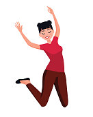 Vector illustration of jumping woman. Cartoon realistic people. Flat young woman. Front view. Happy girl jumping on a white background. Woman in casual clothes. Healthy lifestyle. Success.