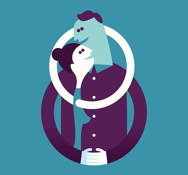 illustrazioni stock, clip art, cartoni animati e icone di tendenza di illustrazione vettoriale di uomo e donna abbracciare una persona - couple portrait caucasian