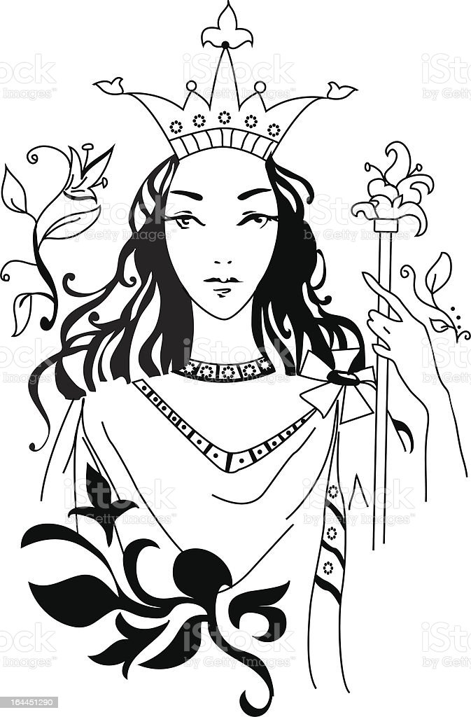 Vector illustration of romantic Queen royalty-free vector illustration of romantic queen stock vector art & more images of adult