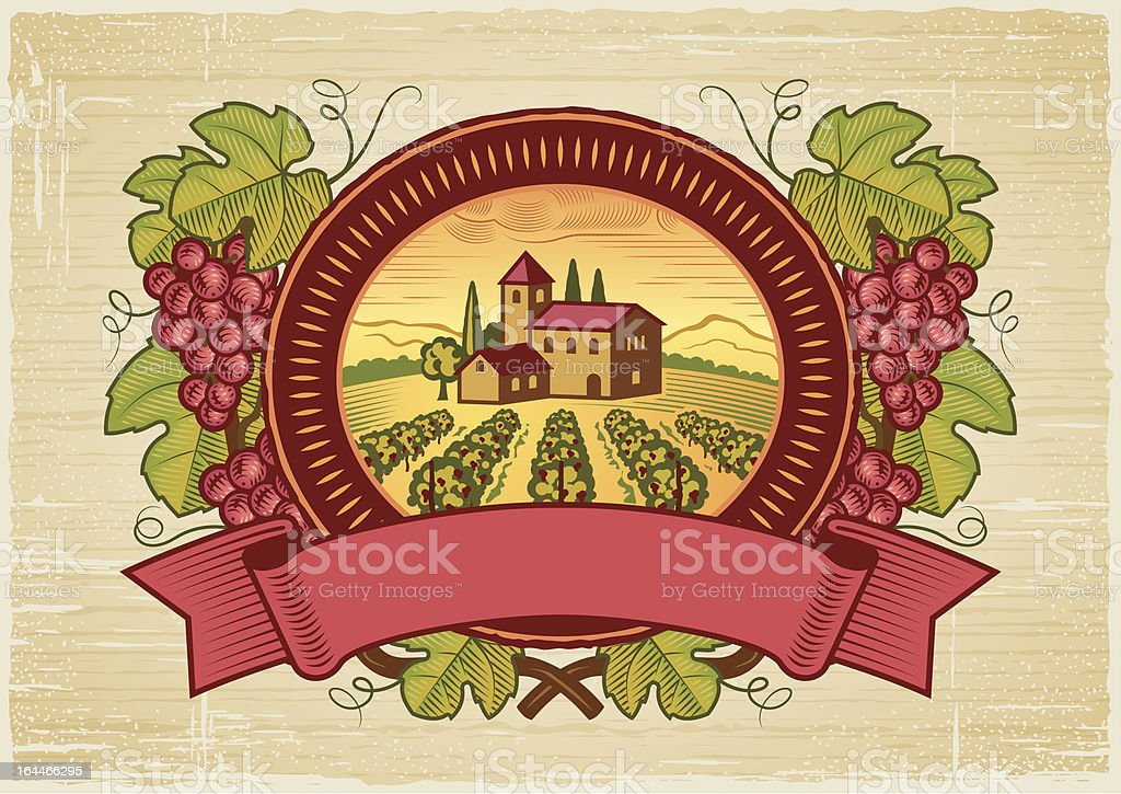 Vector illustration of vintage grape harvest label vector art illustration