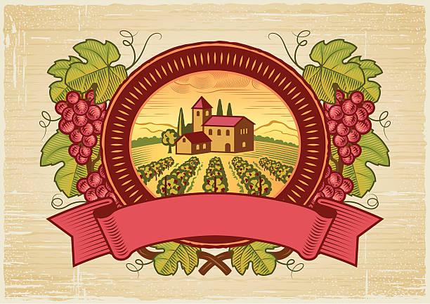 vektor-illustration von vintage grape harvest label - villas stock-grafiken, -clipart, -cartoons und -symbole
