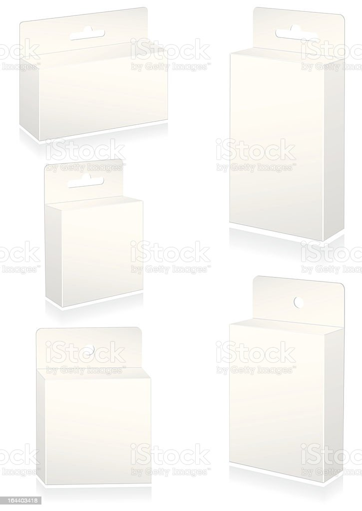 Vector illustration set of blank retail boxes with hang slot. royalty-free stock vector art