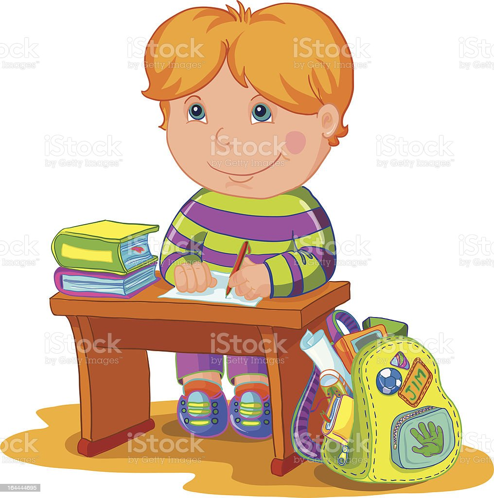 vector illustration-schoolboy royalty-free stock vector art